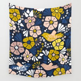 Blue wellness garden - florals matching to design for a happy life Wall Tapestry