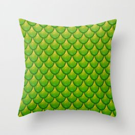 Fish Scales - Green Version Throw Pillow