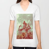goddess V-neck T-shirts featuring Goddess by Farkas B. Szabina