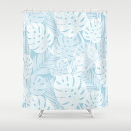 Tropical Shadows - Light Blue / White Shower Curtain