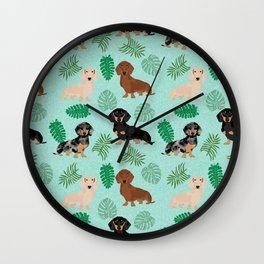 dachshund summer tropical monstera palms dog breed pure breed pets Wall Clock