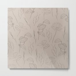 Line Art Leaf Pattern Metal Print