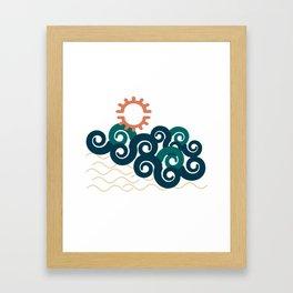 sun in a beach Framed Art Print