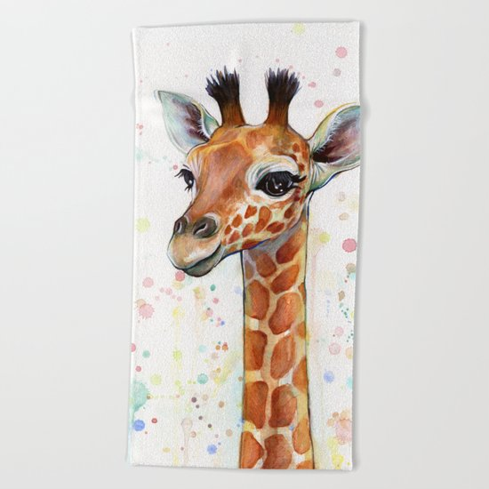 Giraffe Baby Animal Watercolor Beach Towel