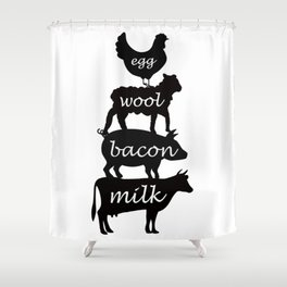 Egg Wool Bacon and Milk Shower Curtain