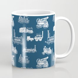 Antique Steam Engines // Navy Blue Coffee Mug