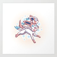 sylveon Art Prints featuring Sylveon  by Lara Frizzell