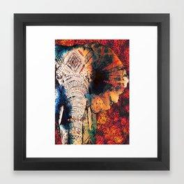 Indian Sketched Elephant Red Orange Framed Art Print