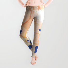 Patel Pink Orange Gradient Alcohol Ink Pouring with Gold and Blue Terrazzo Leggings