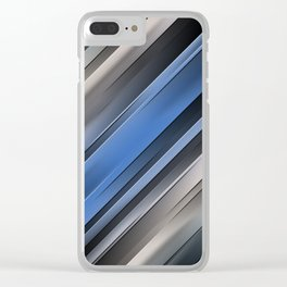 Abstract Blue Stripes Clear iPhone Case