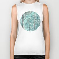 botanical Biker Tanks featuring Teal & Aqua Botanical Doodle on Weathered Wood by micklyn