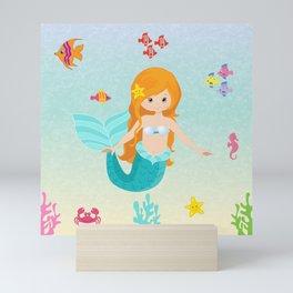 Little Girl Mermaid Mini Art Print