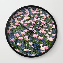 Pink Foxtrot tulips with blue forget-me-nots Wall Clock