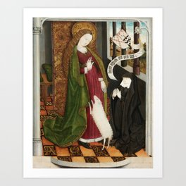 Kneeling in Adoration before Saint Agnes Art Print