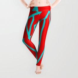Red blue turquoise gar Leggings