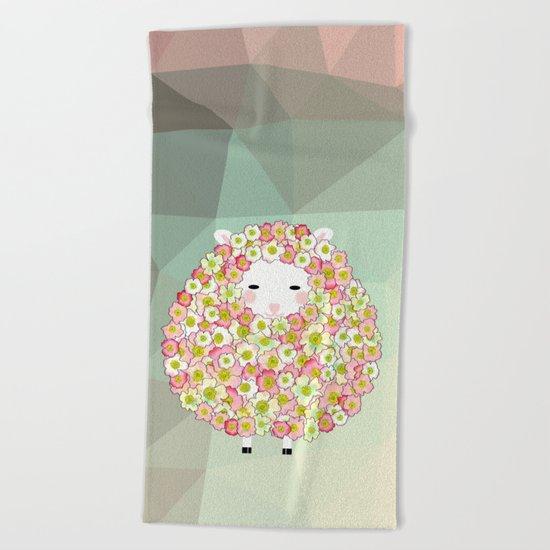 Pastel Tone Flowery Sheep Design Beach Towel