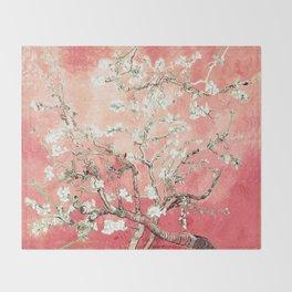 Van Gogh Almond Blossoms : Peach Throw Blanket