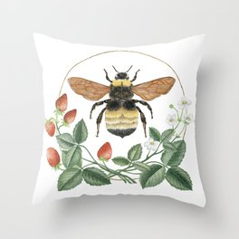 Bombus & Strawberries Throw Pillow