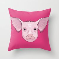 pig Throw Pillows featuring Pig by Compassion Collective