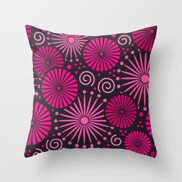 Pink retro abstract Throw Pillow