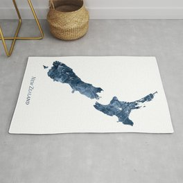 New Zealand Map Navy Blue Watercolor by Zouzounio Art Rug