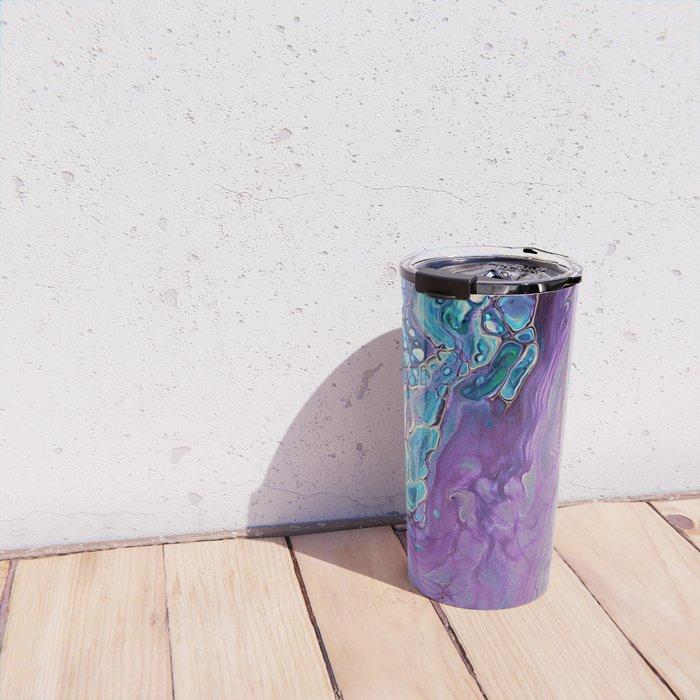 Purple Fluid Acrylic Abstract Painting - Slow Down  III Travel Mug