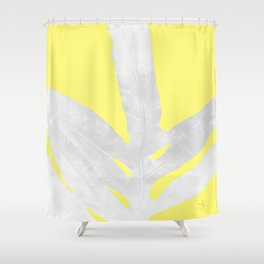 Green Fern on Lemon Yellow Inverted Shower Curtain