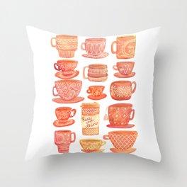 Pink Teacups and Mugs Throw Pillow