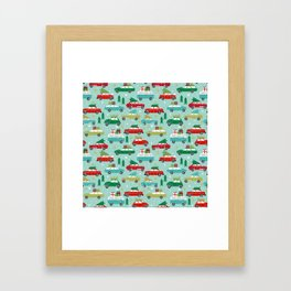 Christmas car tradition christmas trees holiday pattern winter festive Framed Art Print