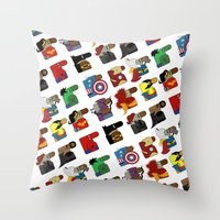 super heroes Throw Pillows featuring Super Heroes by nobleplatypus