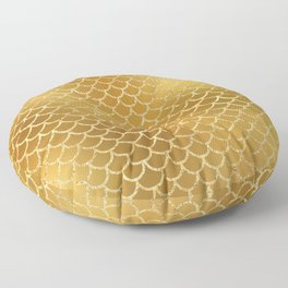 Elegant, Bling Gold Mermaid Scale Pattern Floor Pillow