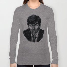 David Tennant as Broadchurch's Alec Hardy (or Gracepoint's Emmett Carver) (Graphite) Portrait  Long Sleeve T-shirt