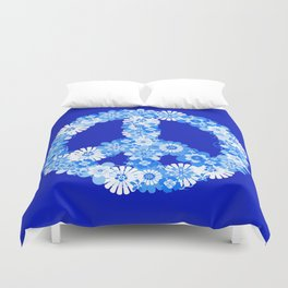 Peace Sign Floral Blue Duvet Cover