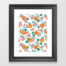 Pumpkins and Roses Framed Art Print