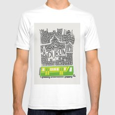 Dublin Cityscape White MEDIUM Mens Fitted Tee
