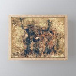 Highland Bull Art Framed Mini Art Print