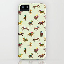 Off to the Horse Races (Mint) iPhone Case