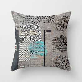 Grey Teal Abstract Art  Throw Pillow