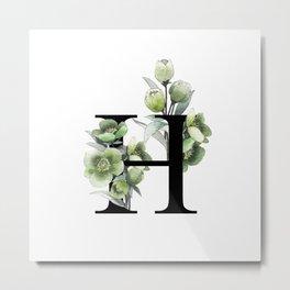 Letter 'H' Helleborus Flower Typography Metal Print