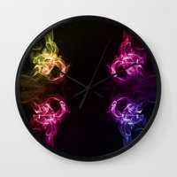 headphones Wall Clocks featuring Headphones by Steve Purnell