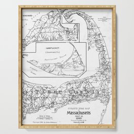 Vintage Cape Cod Cyclist Map (1893) BW Serving Tray