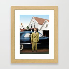 Mr. Fox posing with his new car Framed Art Print