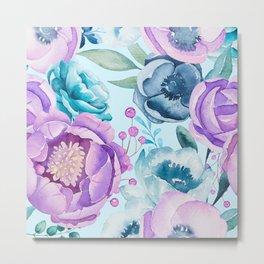 Colorful boho watercolors flowers Metal Print