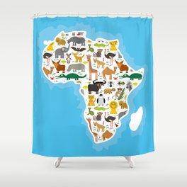 Animal Africa: parrot Hyena Rhinoceros Zebra Hippopotamus Crocodile Turtle Elephant Mamba snake Shower Curtain