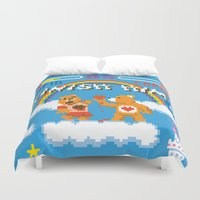 carnage Duvet Covers featuring Care Bear Carnage by Jude Buffum