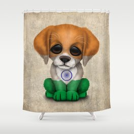 Cute Puppy Dog with flag of India Shower Curtain