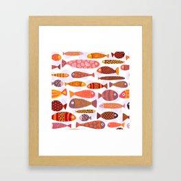 School of tropical fish pattern Framed Art Print