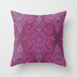 Magenta, Pink & Coral Protea Doodle Pattern Throw Pillow