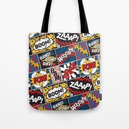 Modern Comic Book Superhero Pattern Color Colour Cartoon Lichtenstein Pop Art Tote Bag