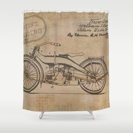 Original Motorcycle Drawing Sketch with Signatures Shower Curtain